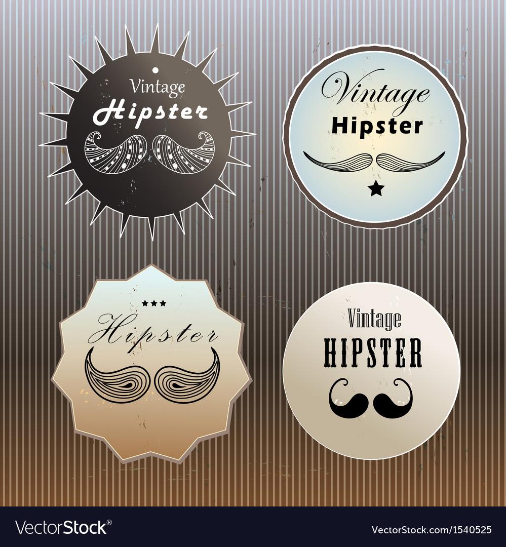 Set hipster logo vector image