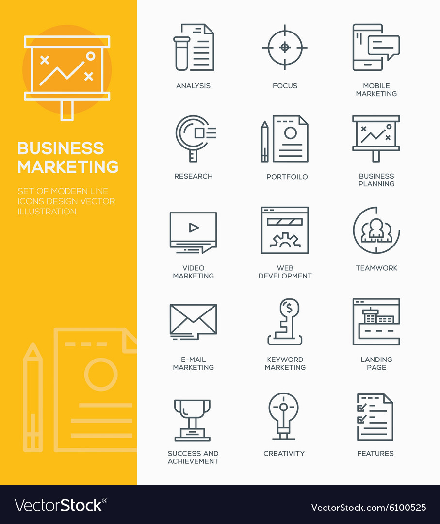 Set of Modern Line icon design Concept of Business
