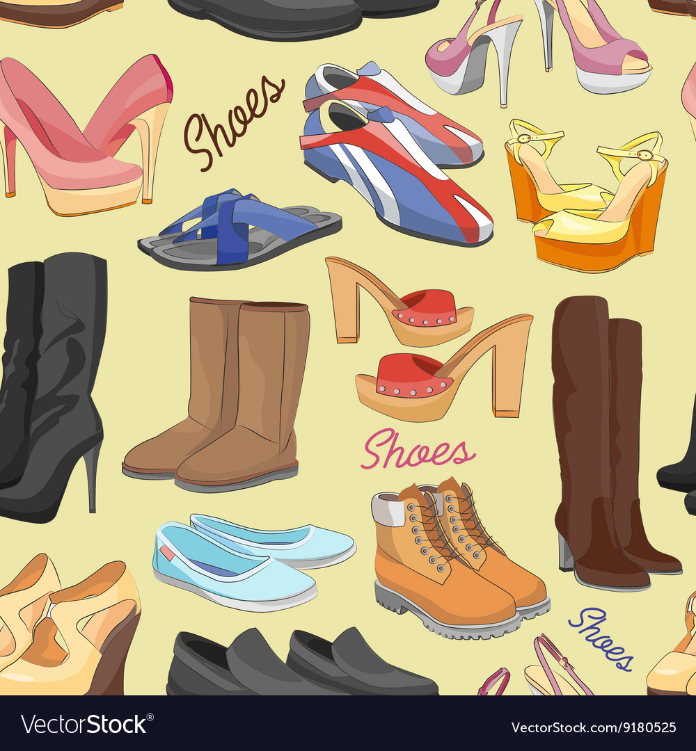 Shoes color pattern vector image