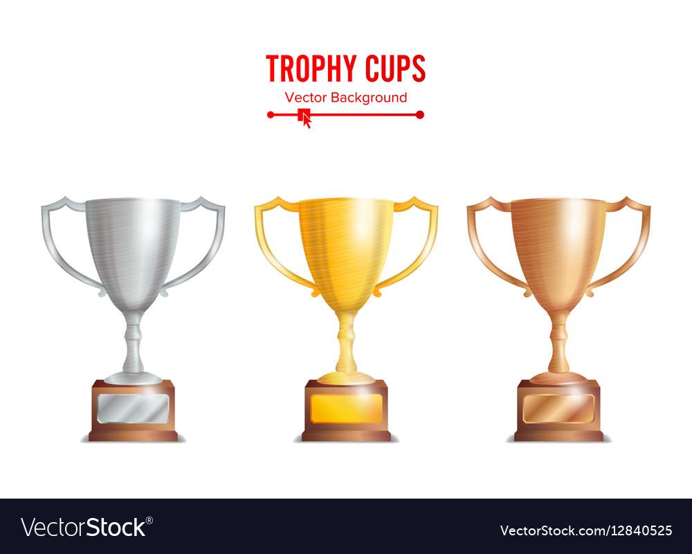 Trophy Cups Set Golden Bronze Silver Colours vector image