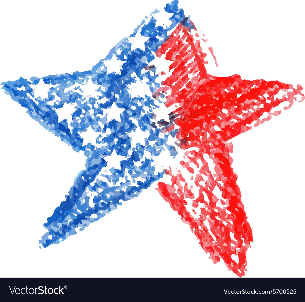 Watercolor star with american flag