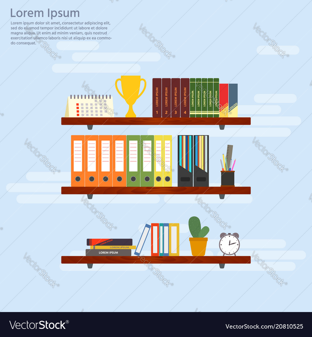 Wooden shelves with books and folders office