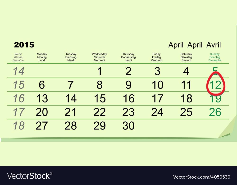 April 12 - Orthodox easter 2015 Green calendar