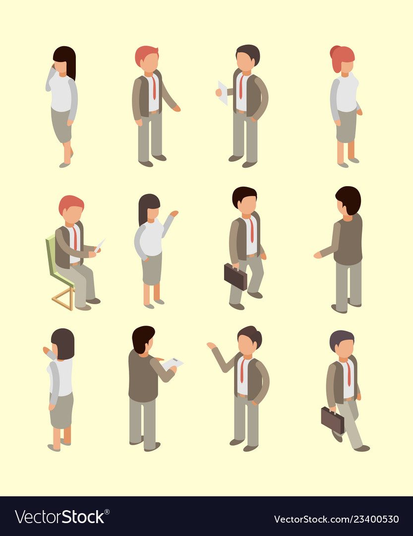 Business people isometric office workers managers