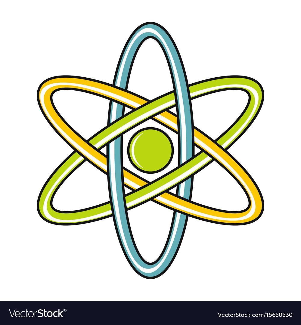 Cartoon atom icon on white background