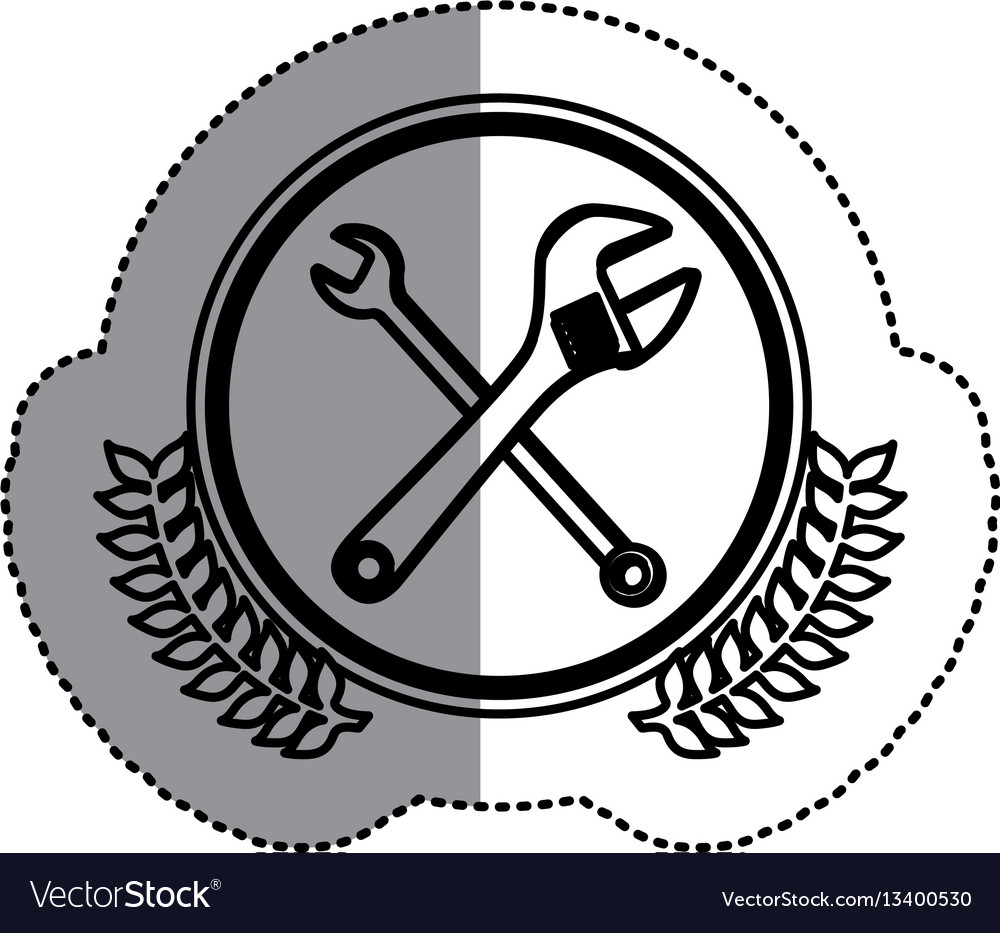 Contour symbol wrench and monkey wrench icon