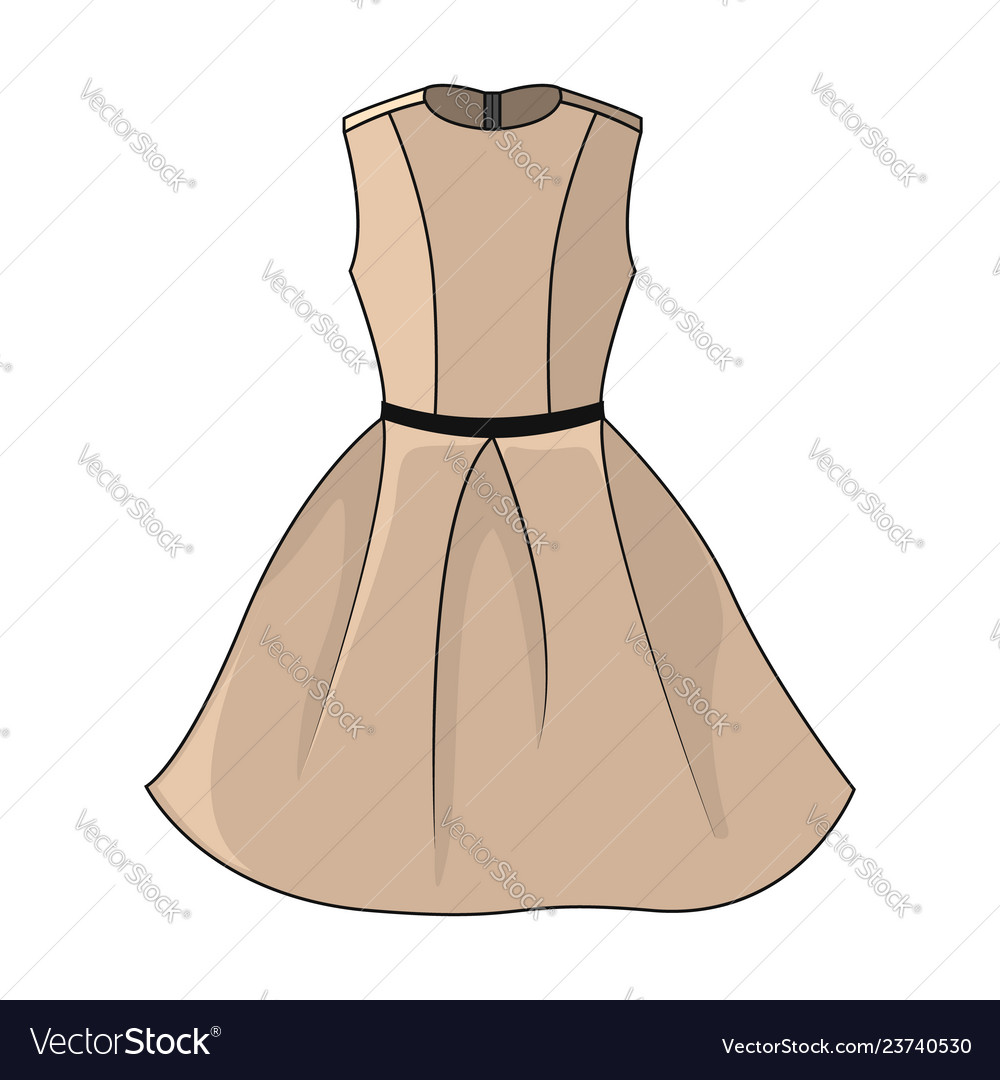 Elegant Beige Dress Icon Beautiful Short Beige Vector Image