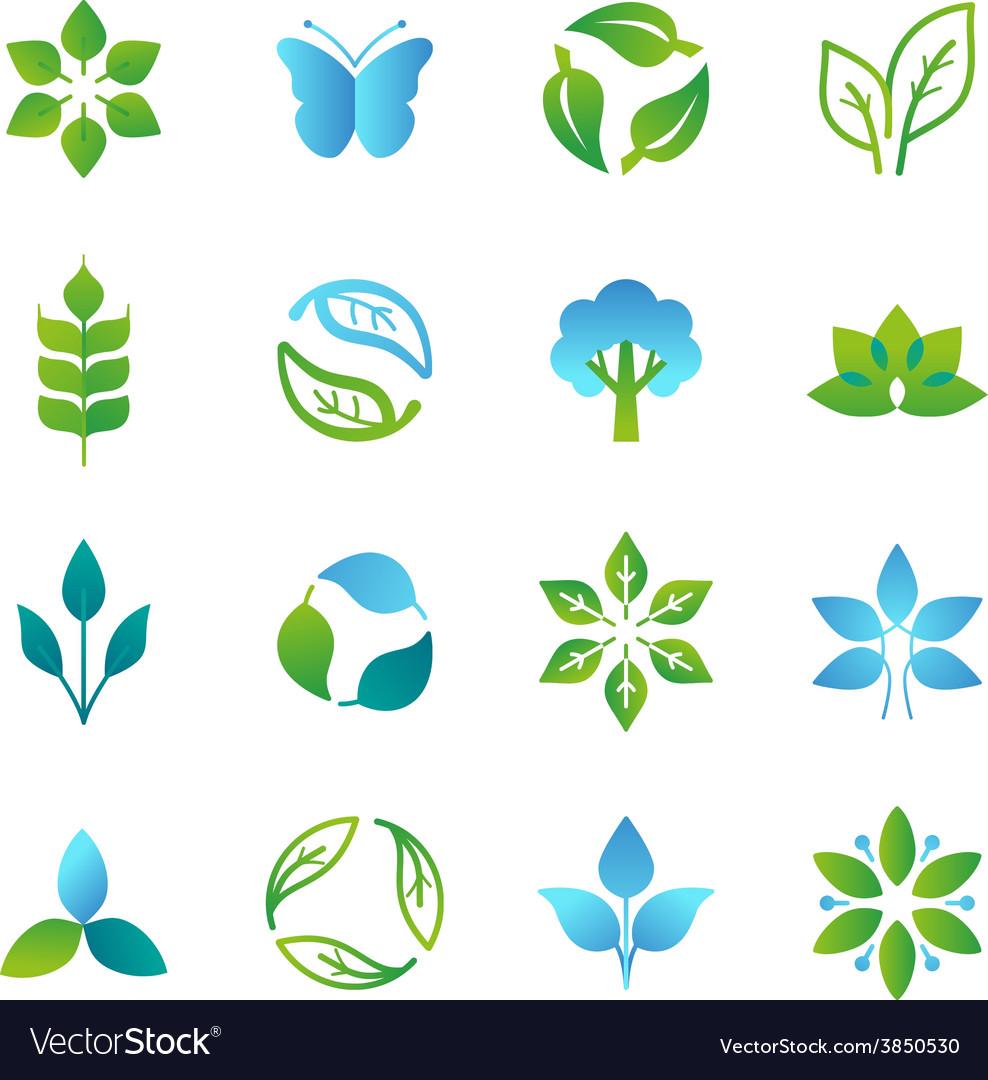 Green logos and emblems