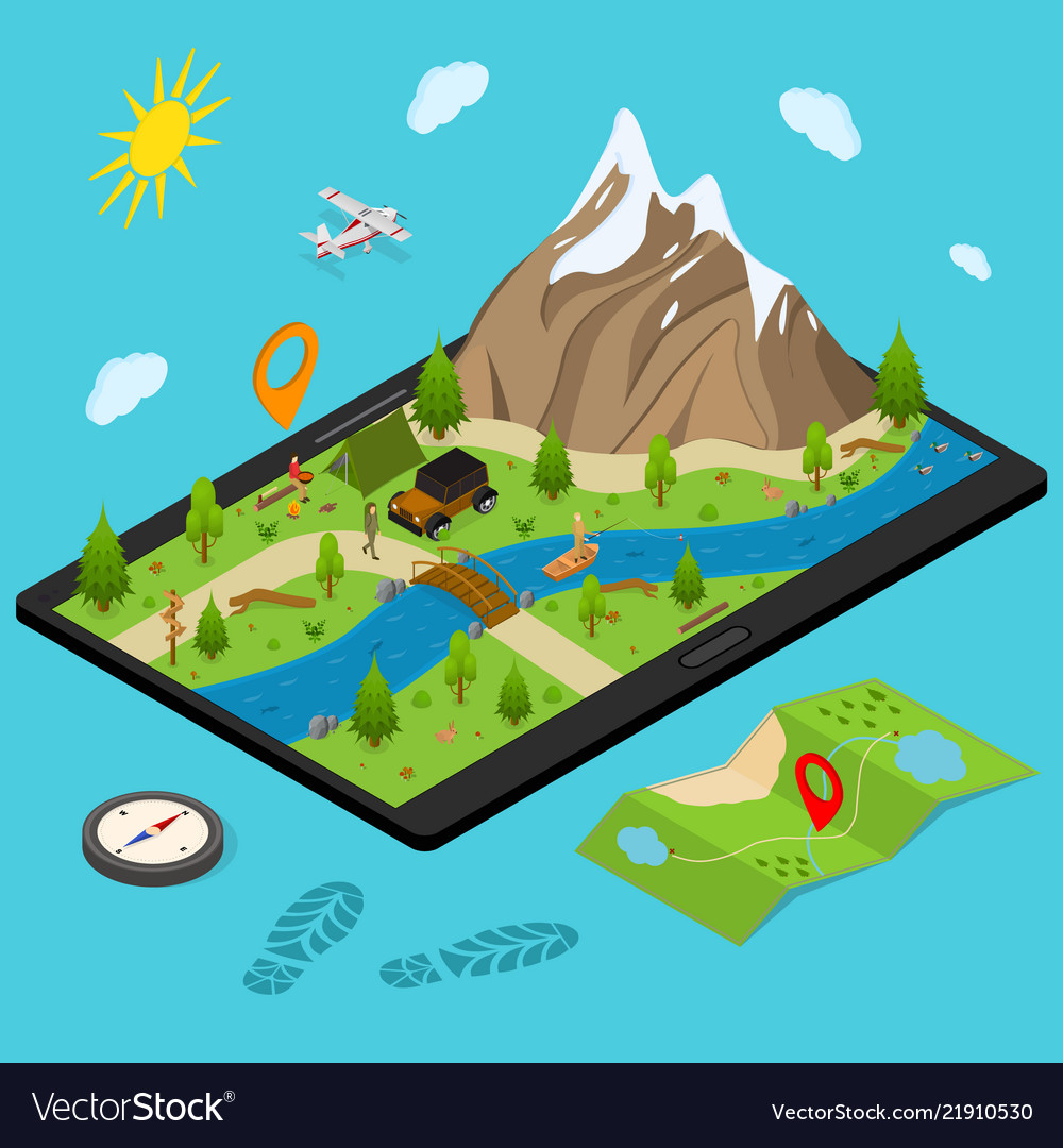 Hiking in a park concept 3d isometric view