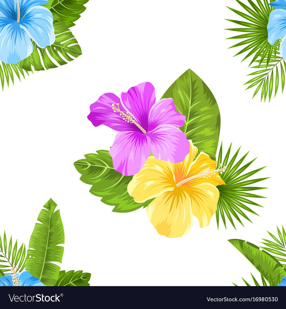 Seamless floral pattern with hibiscus flowers and