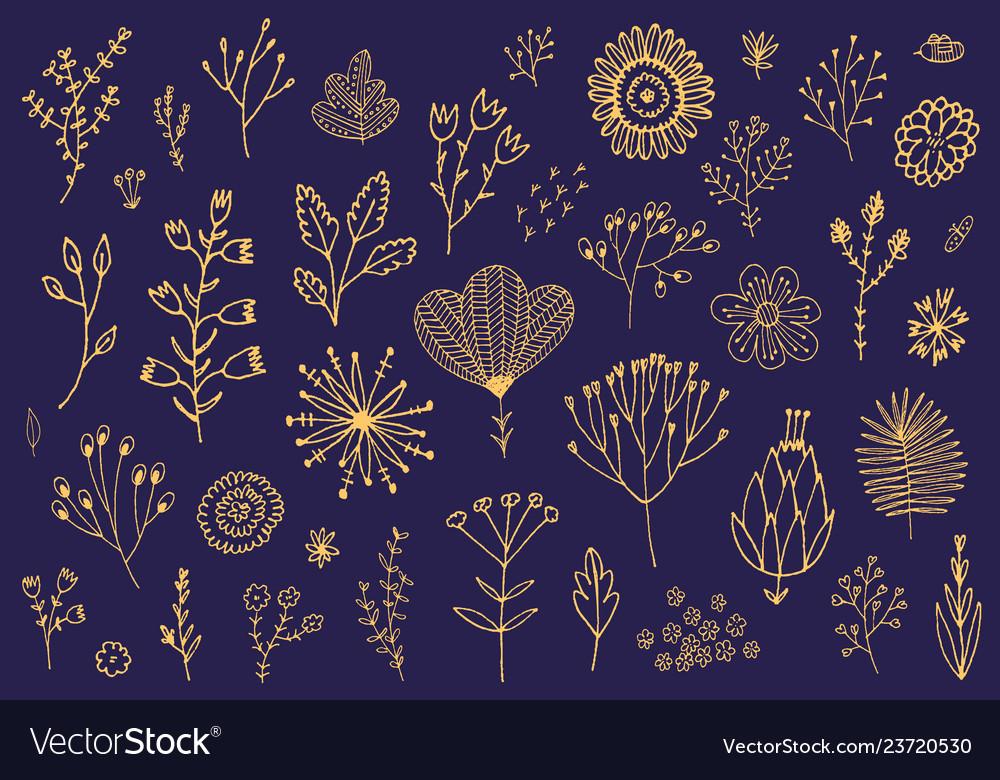 Set doodle hand drawn flowers florals