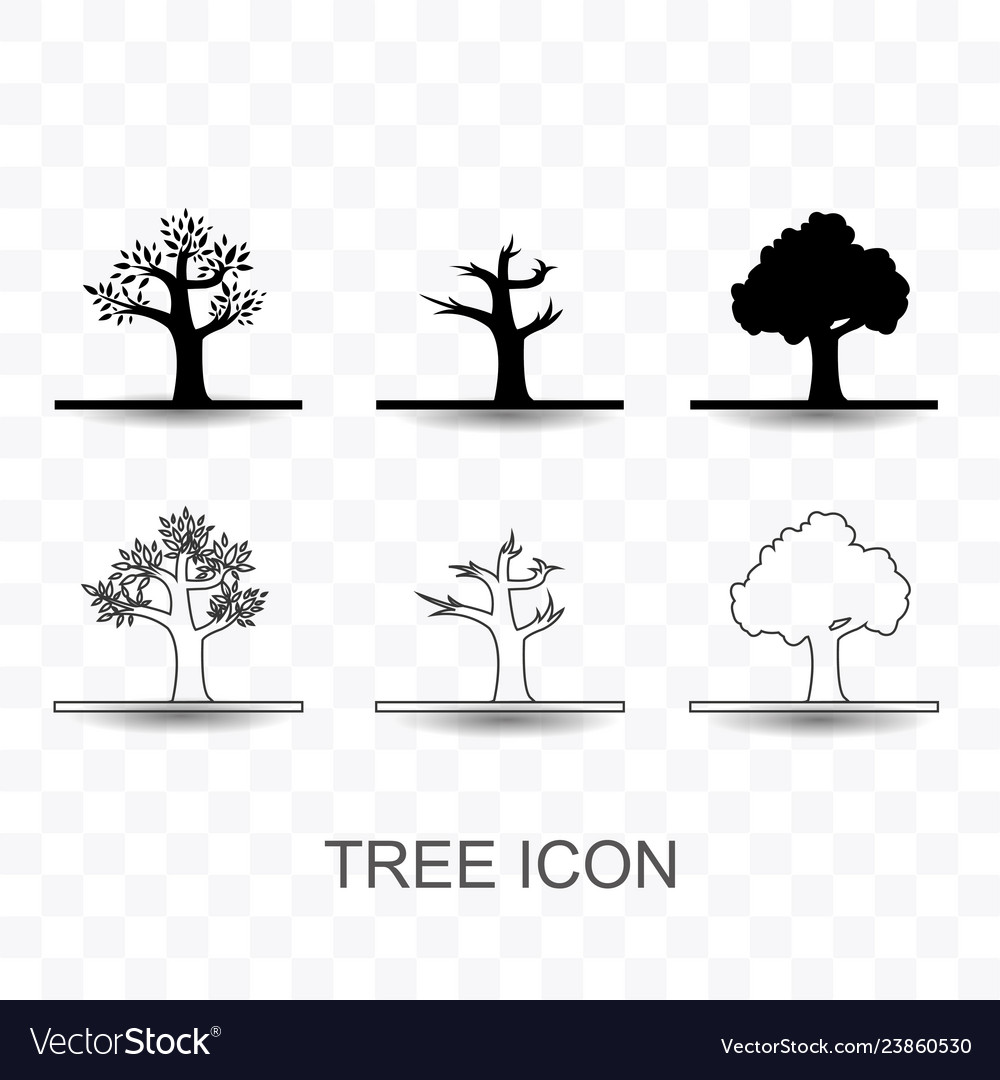 Set of tree icon simple flat style