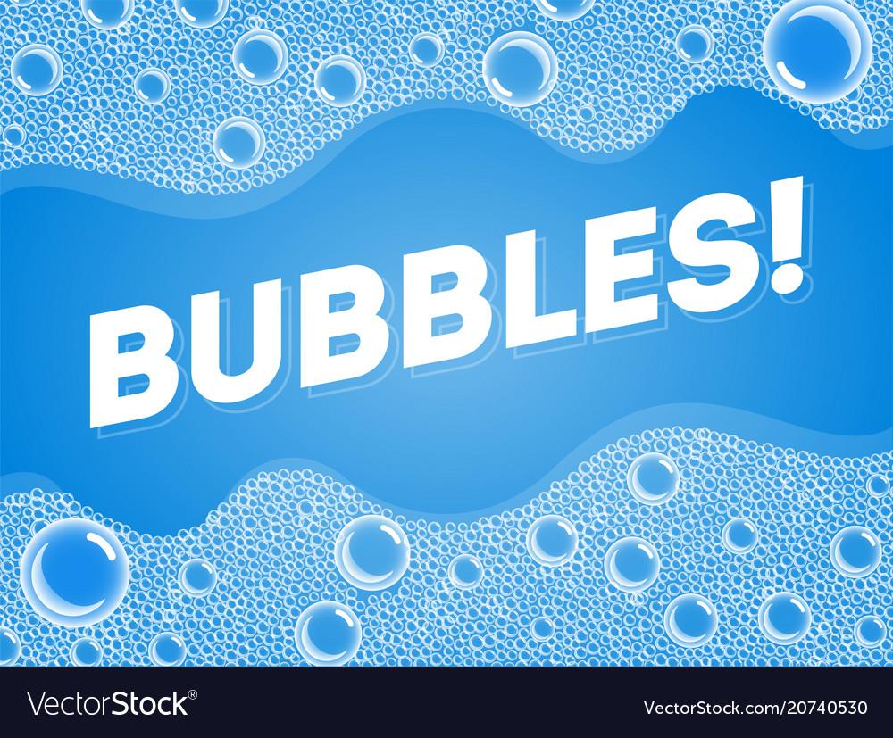 Shampoo soap bubbles in bath or sud transparent