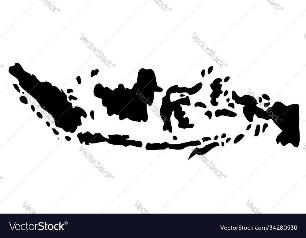 Silhouette map indonesia isolated on white