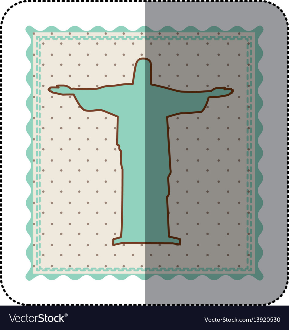 Sticker frame with silhouette of christ redeemer