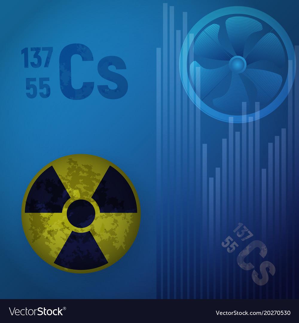 Symbol Of Radioactive Hazard A Cesium Atom 147 Vector Image