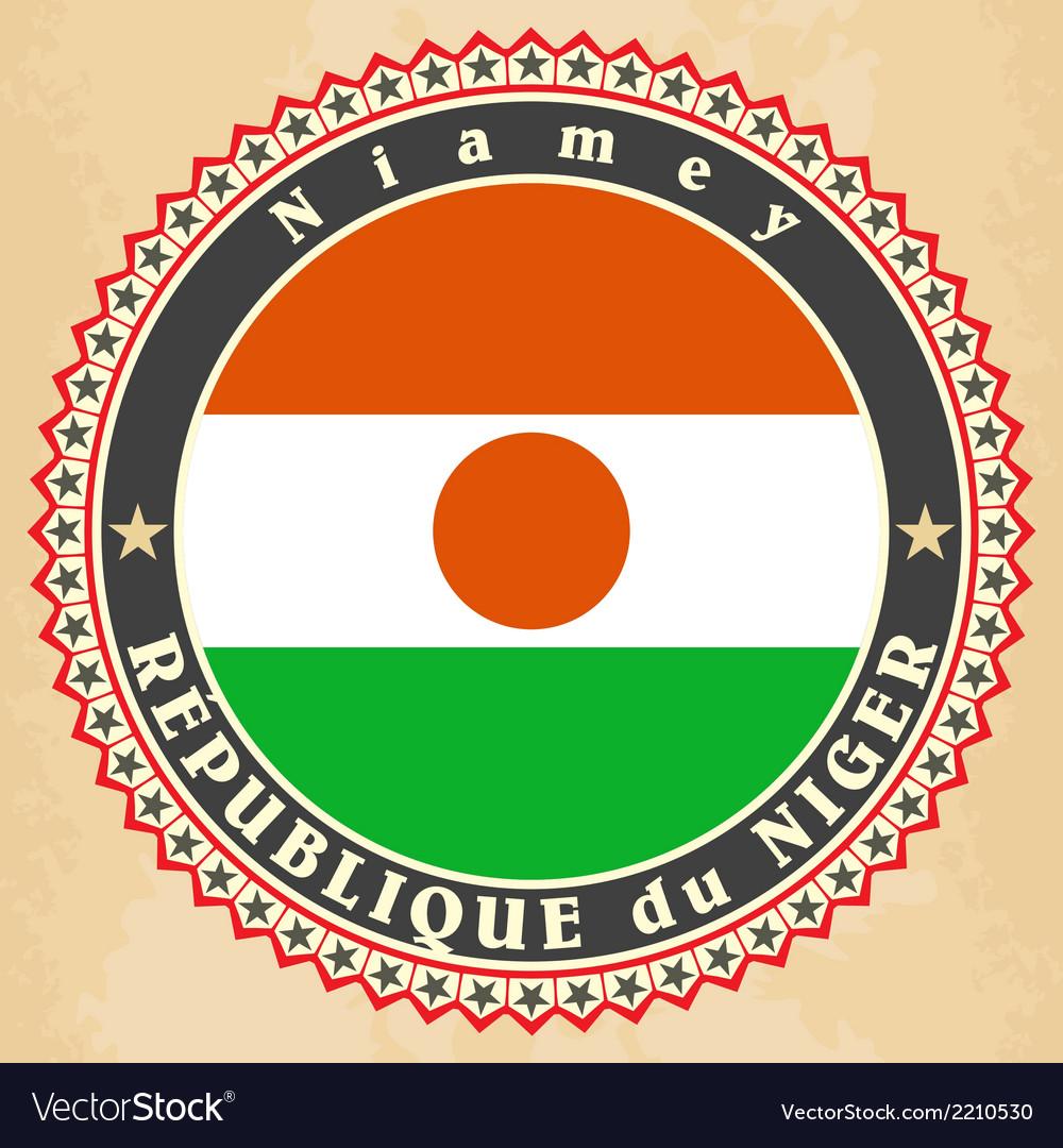Vintage label cards of Niger flag