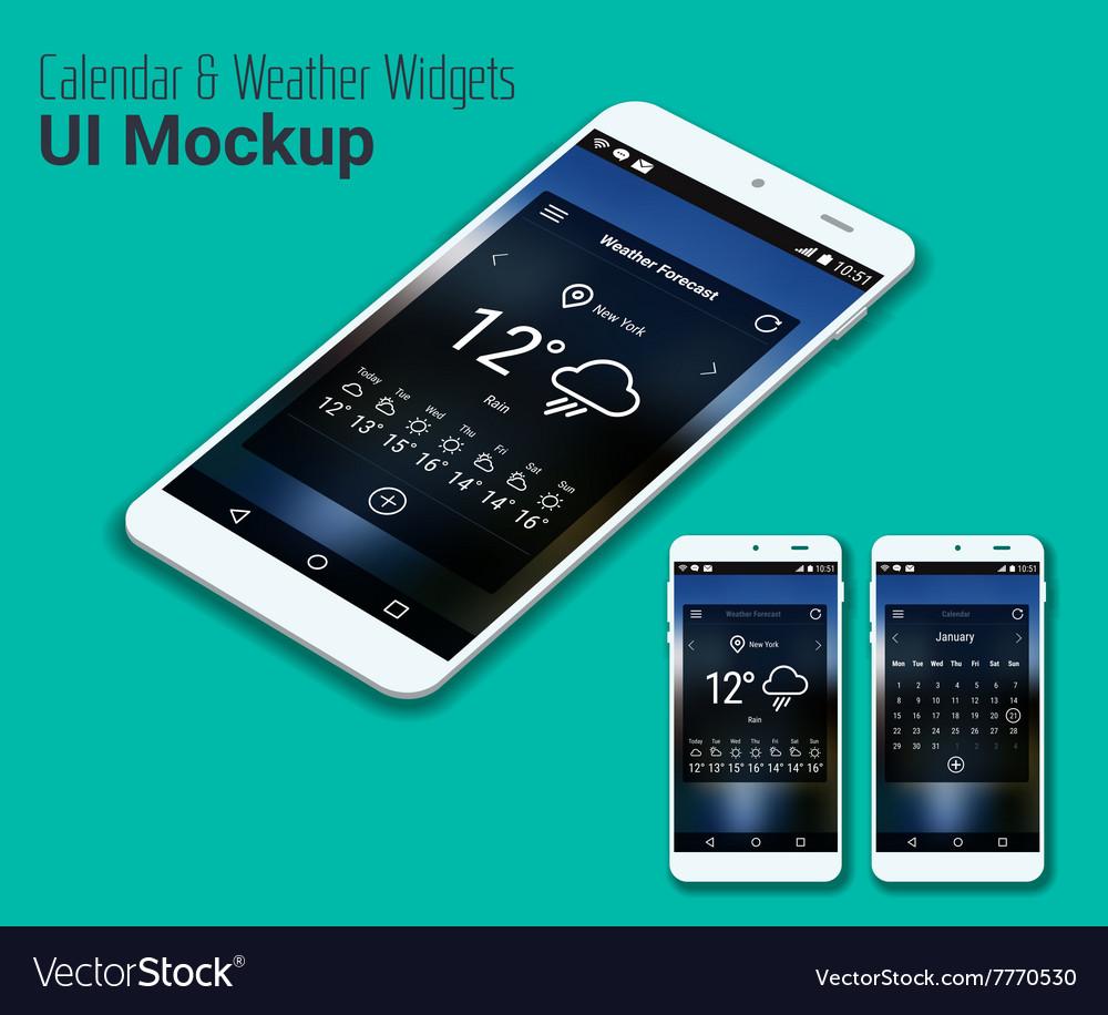 weather mobile app ui smartphone mockup vector image