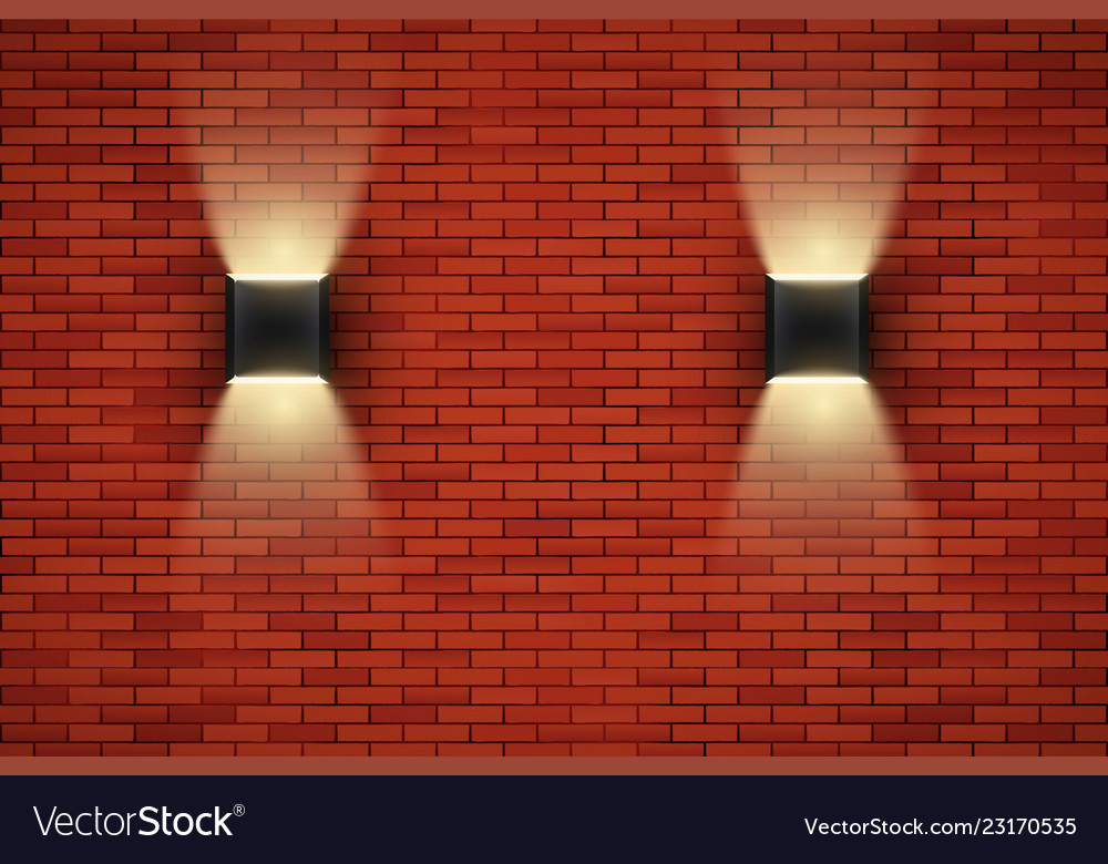 Brick Wall Room With Vintage Sconce Lamps Vector Image