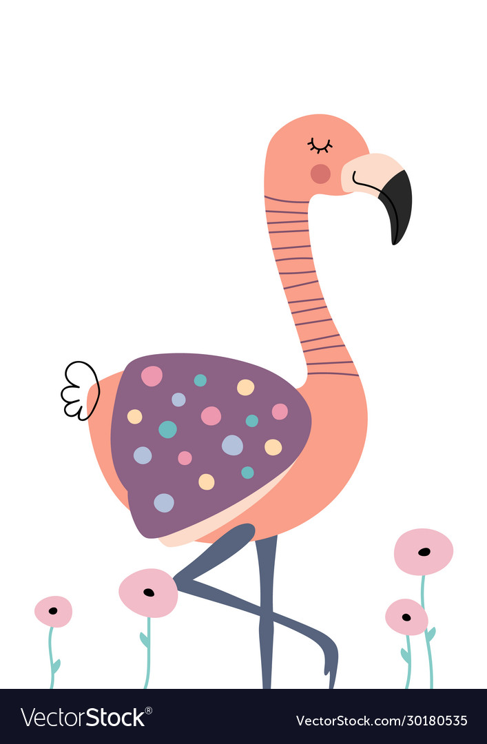 Cute flamingo in flowers poster for baroom