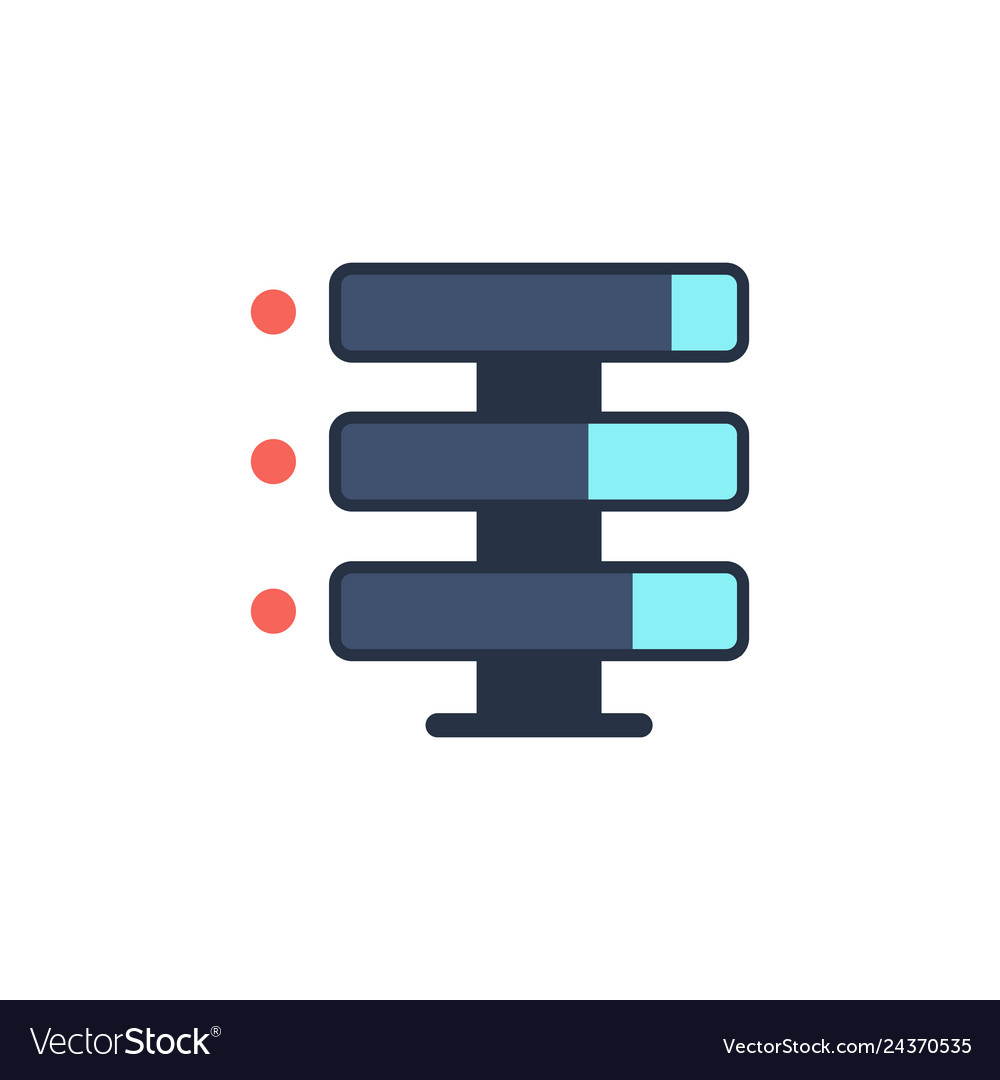 Data storage with files line icon