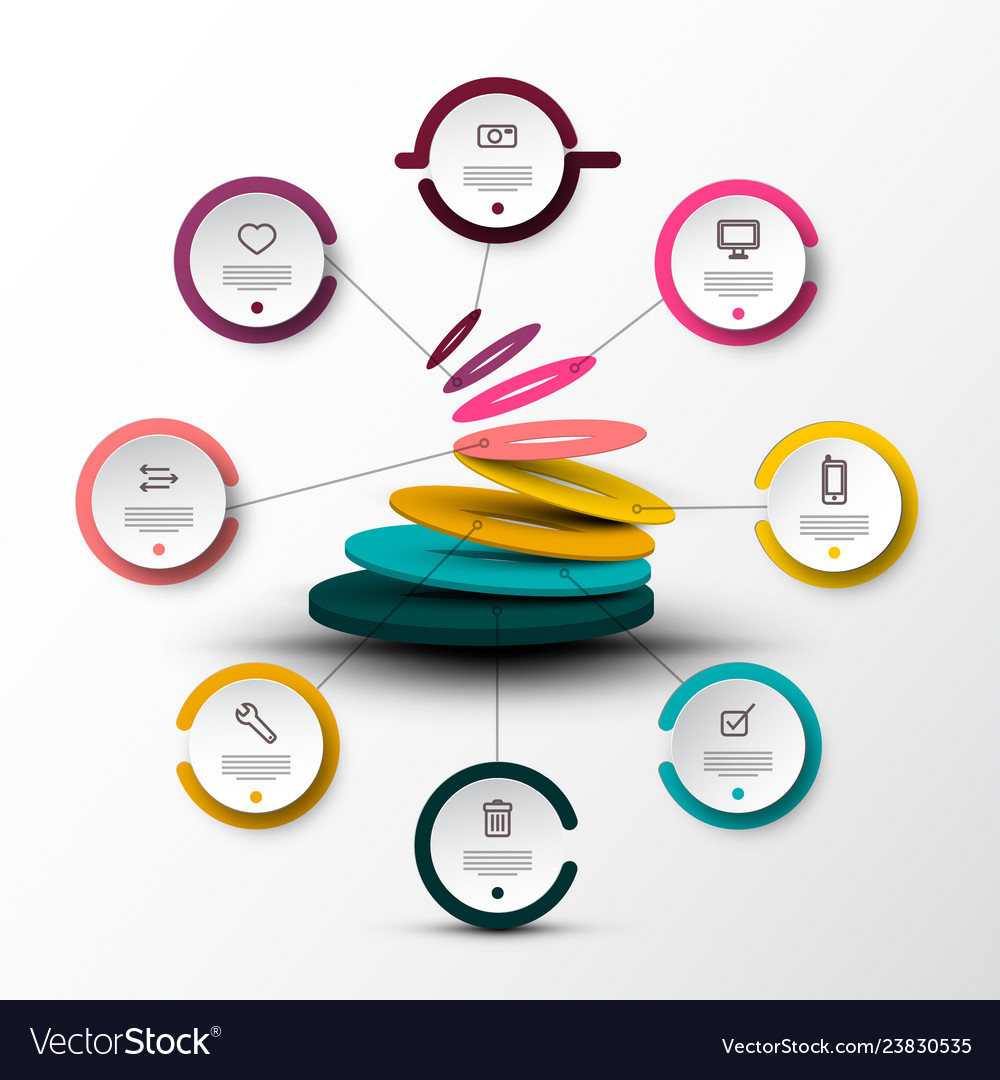 Eight steps company web infographic concept with