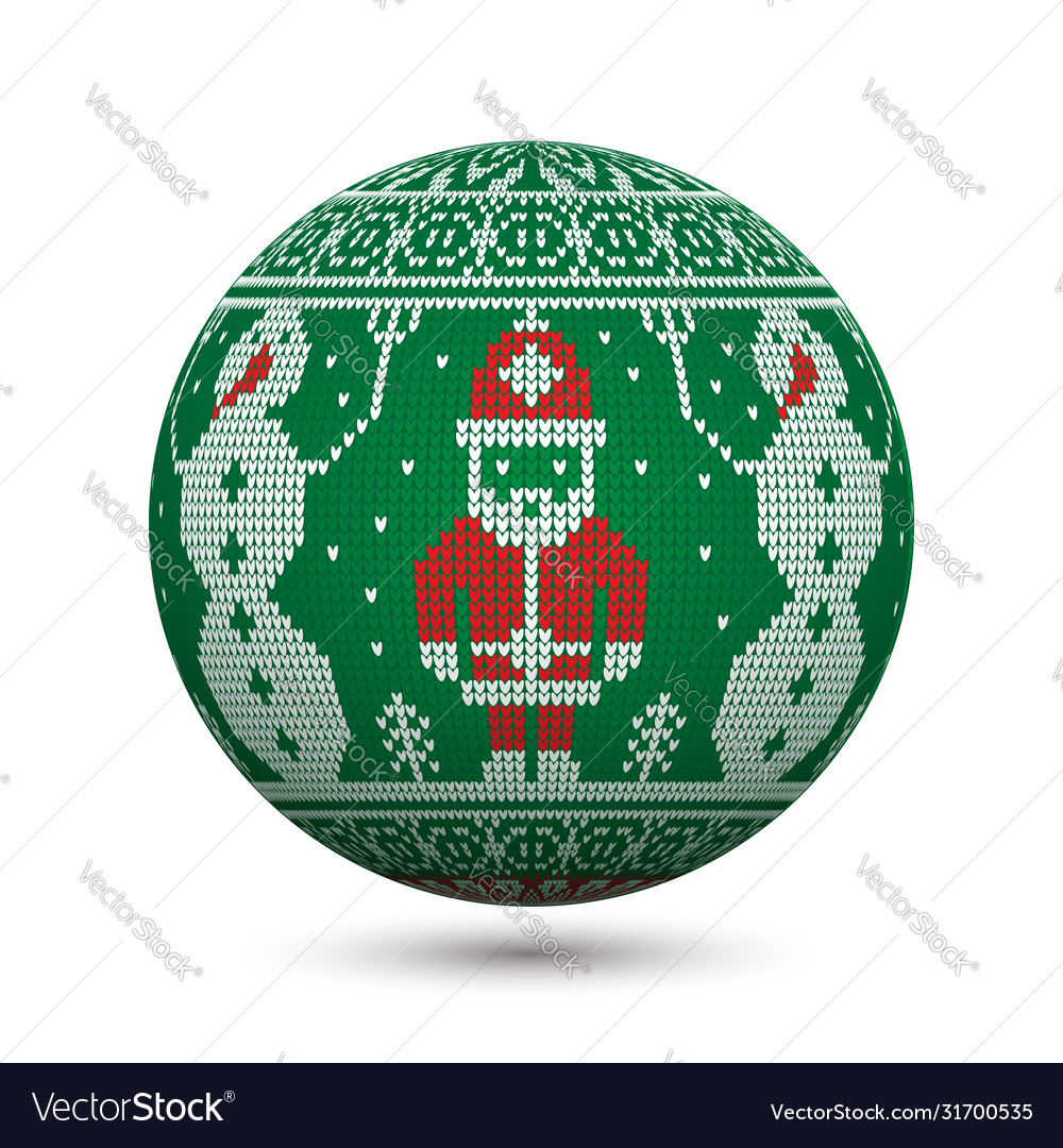 Green knitted christmas ball isolated on white