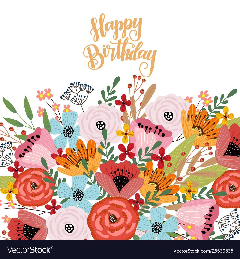 Happy Birthday Postcard Template With Cute Hand