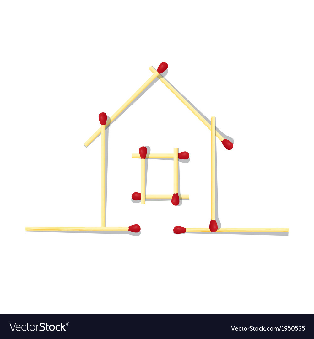 House Symbol Made From Matches Royalty Free Vector Image