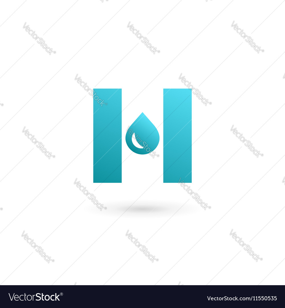 letter h water drop logo icon design template vector image