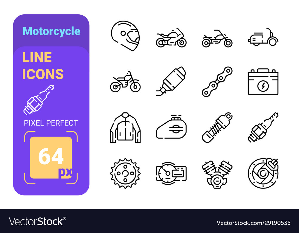 Set 64px motorcycle simple lines icons of