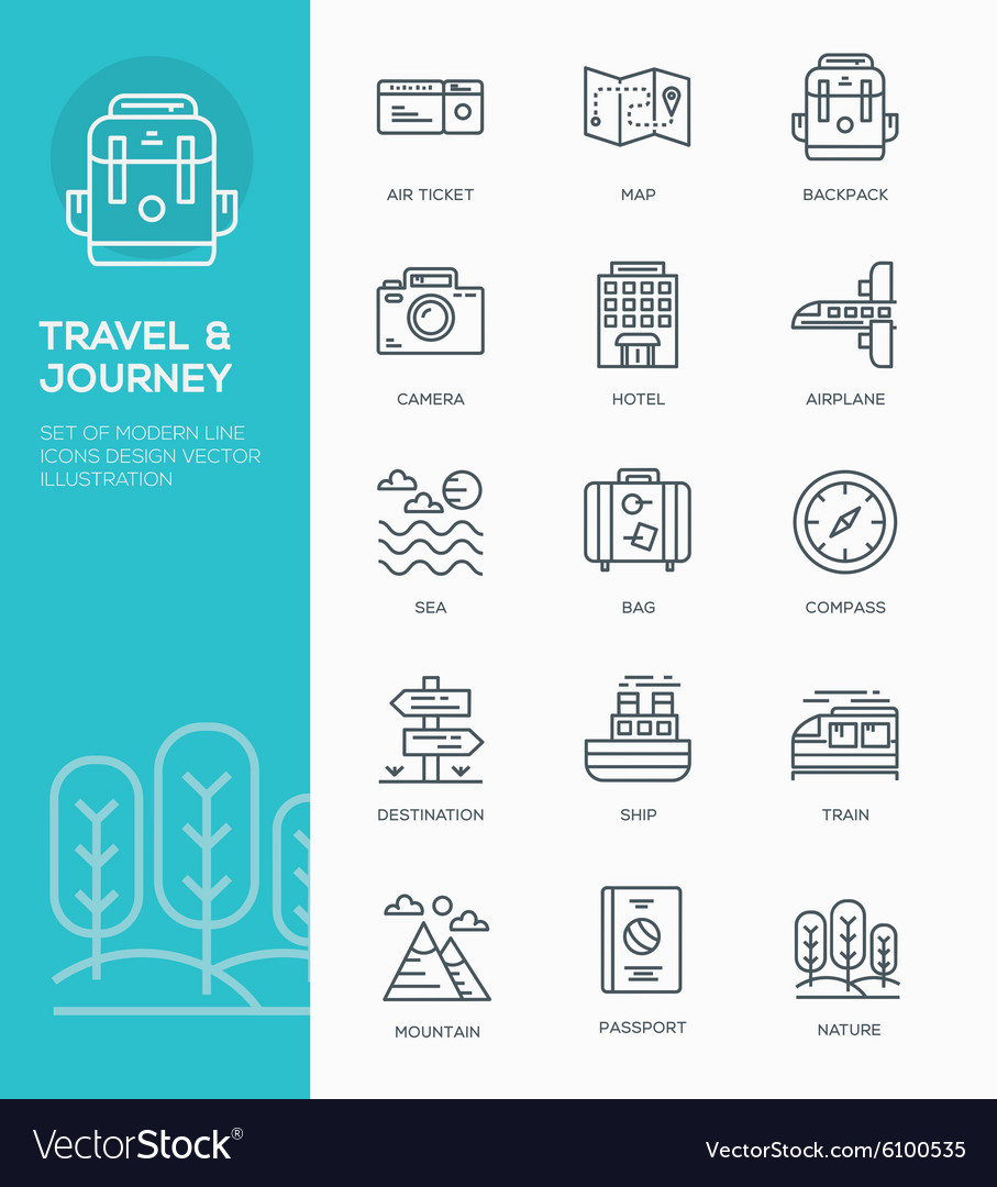 Set of Modern Line icon design Concept of Travel