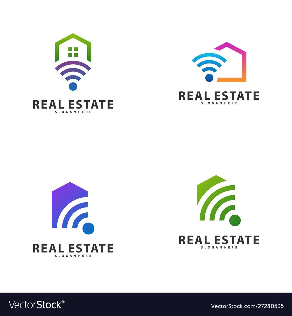 Set Smart Home Idea Logo Template Tech City