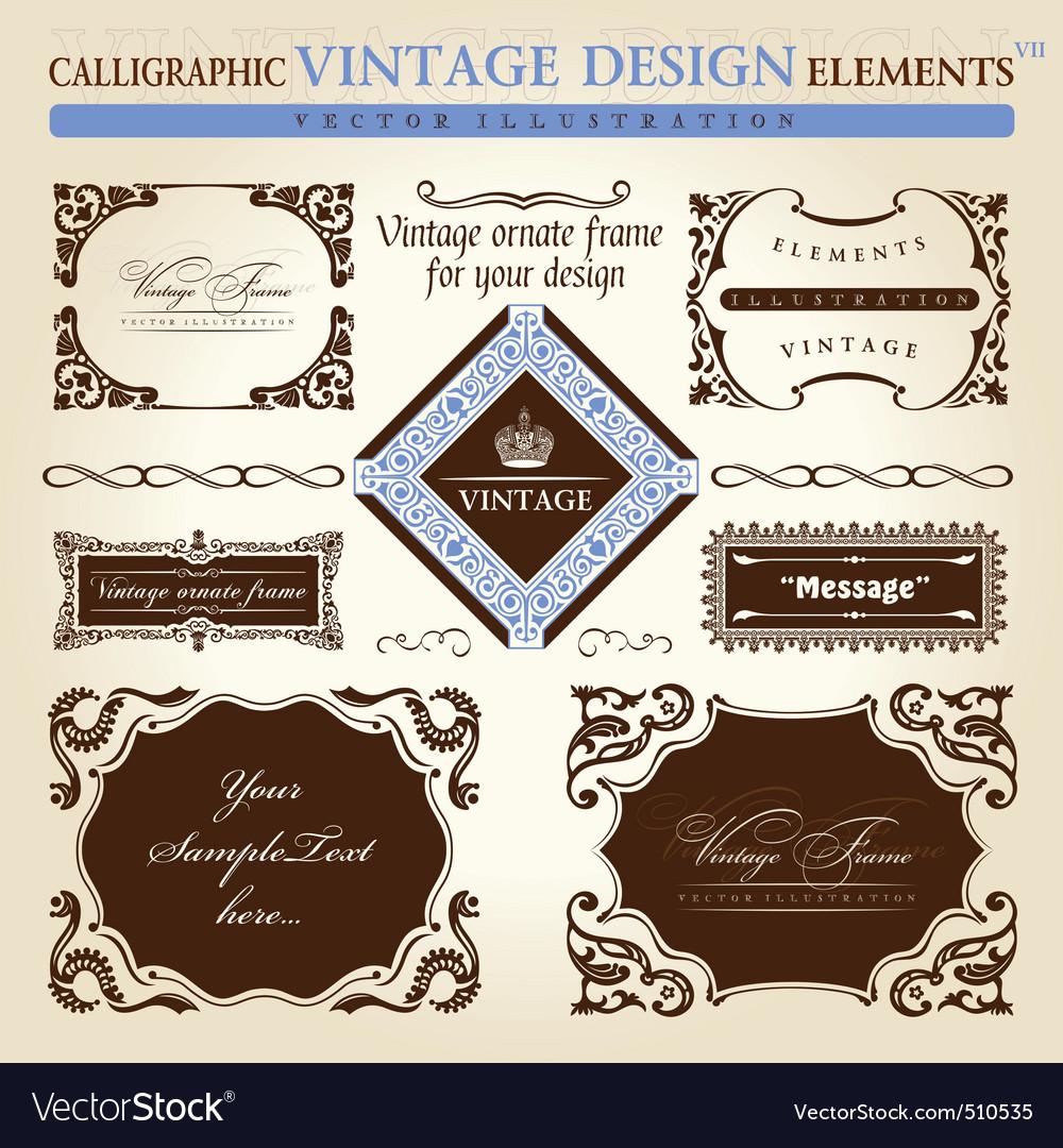Vintage frame ornament set vector element decor