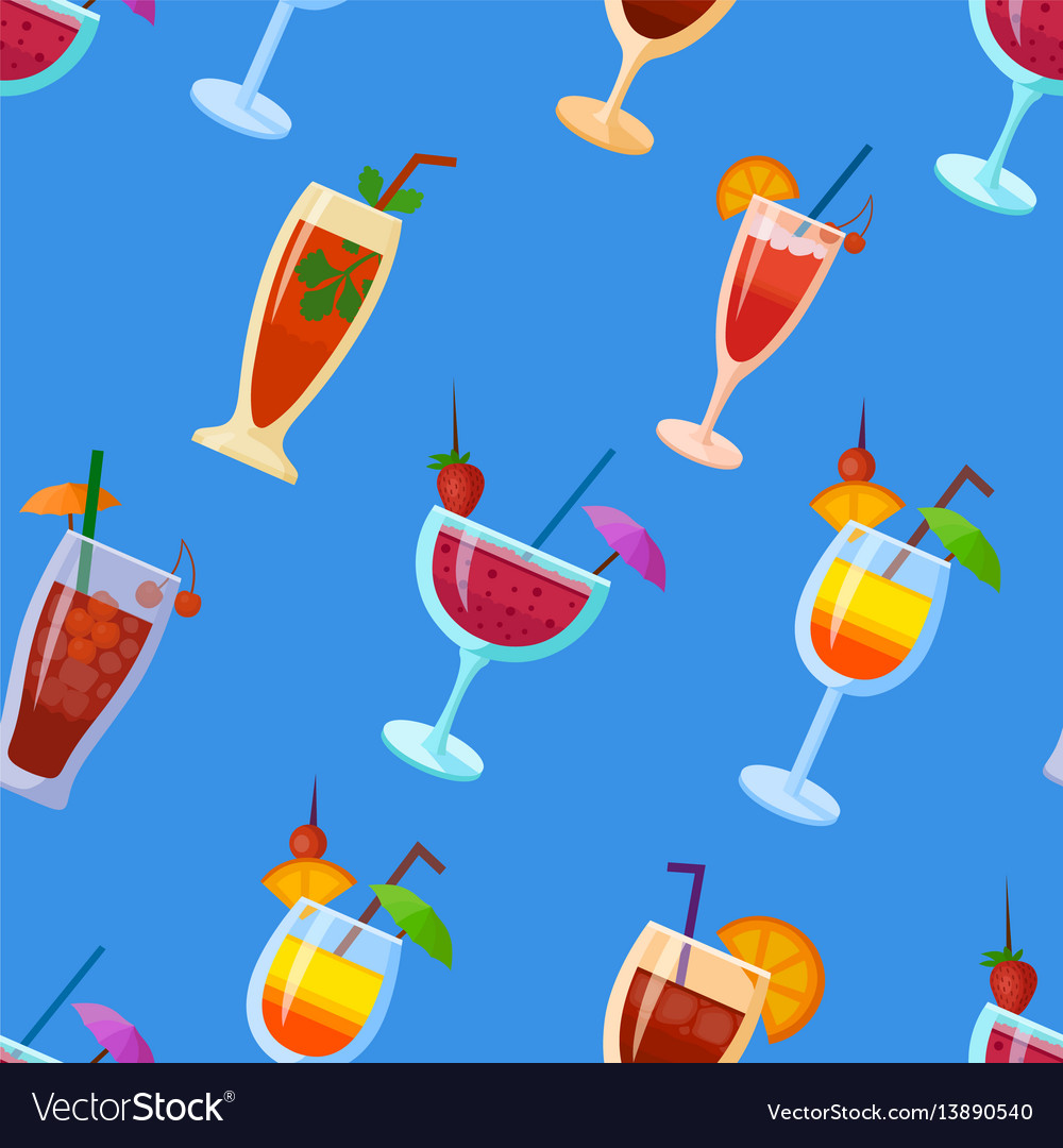 Background with cocktails flat style summer