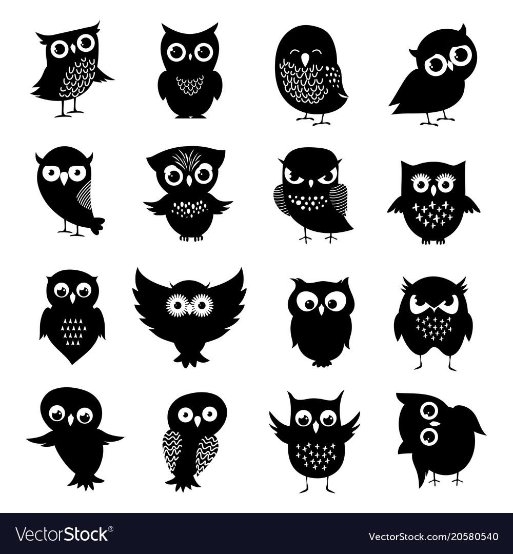 Black and white owl silhouettes set