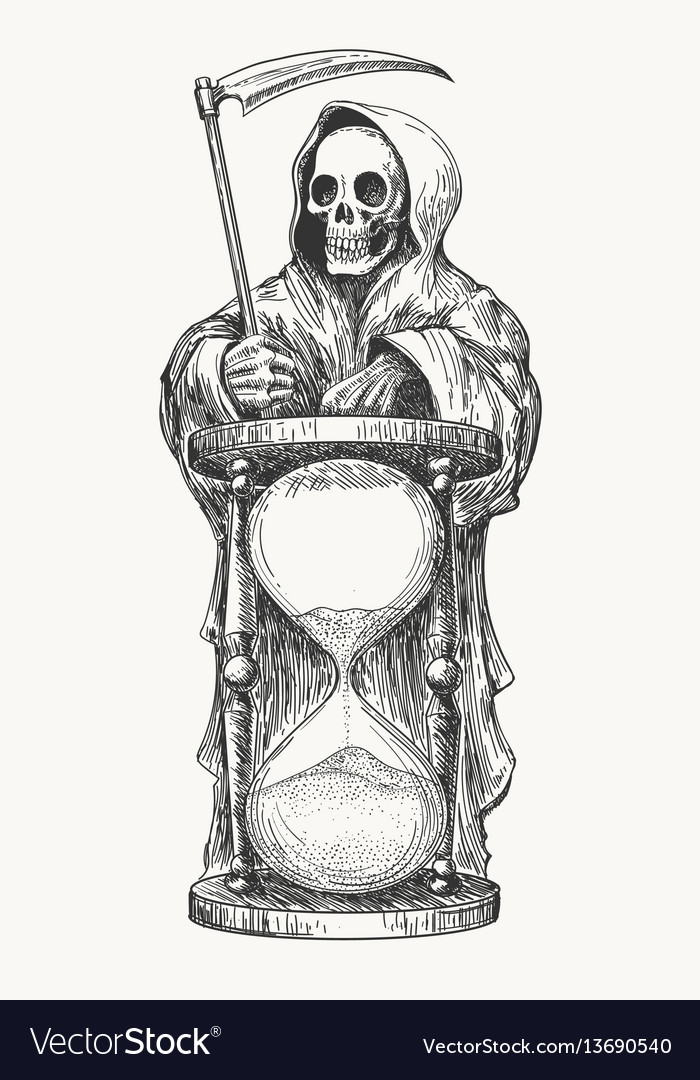 Death with scythe and hourglass