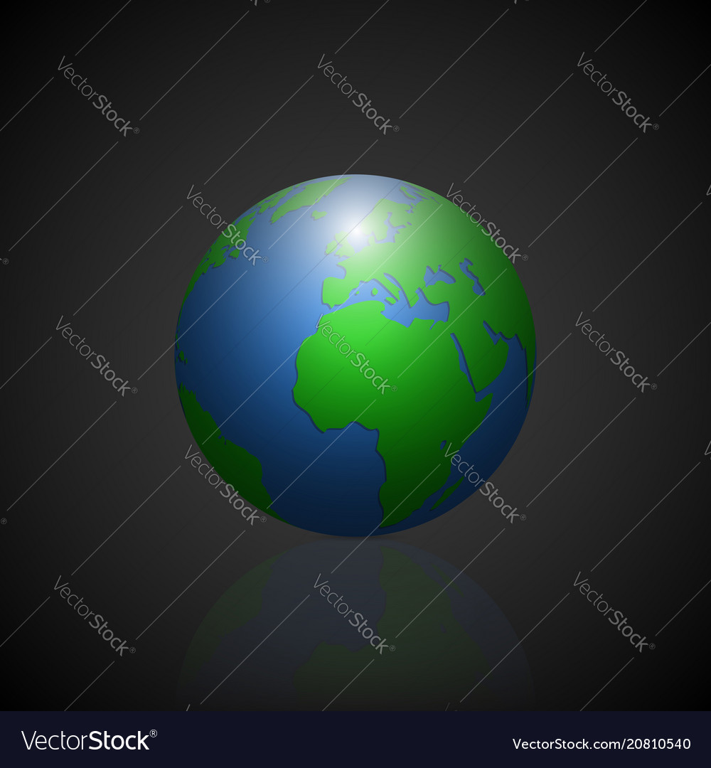 Globe icon with green shadow continents and