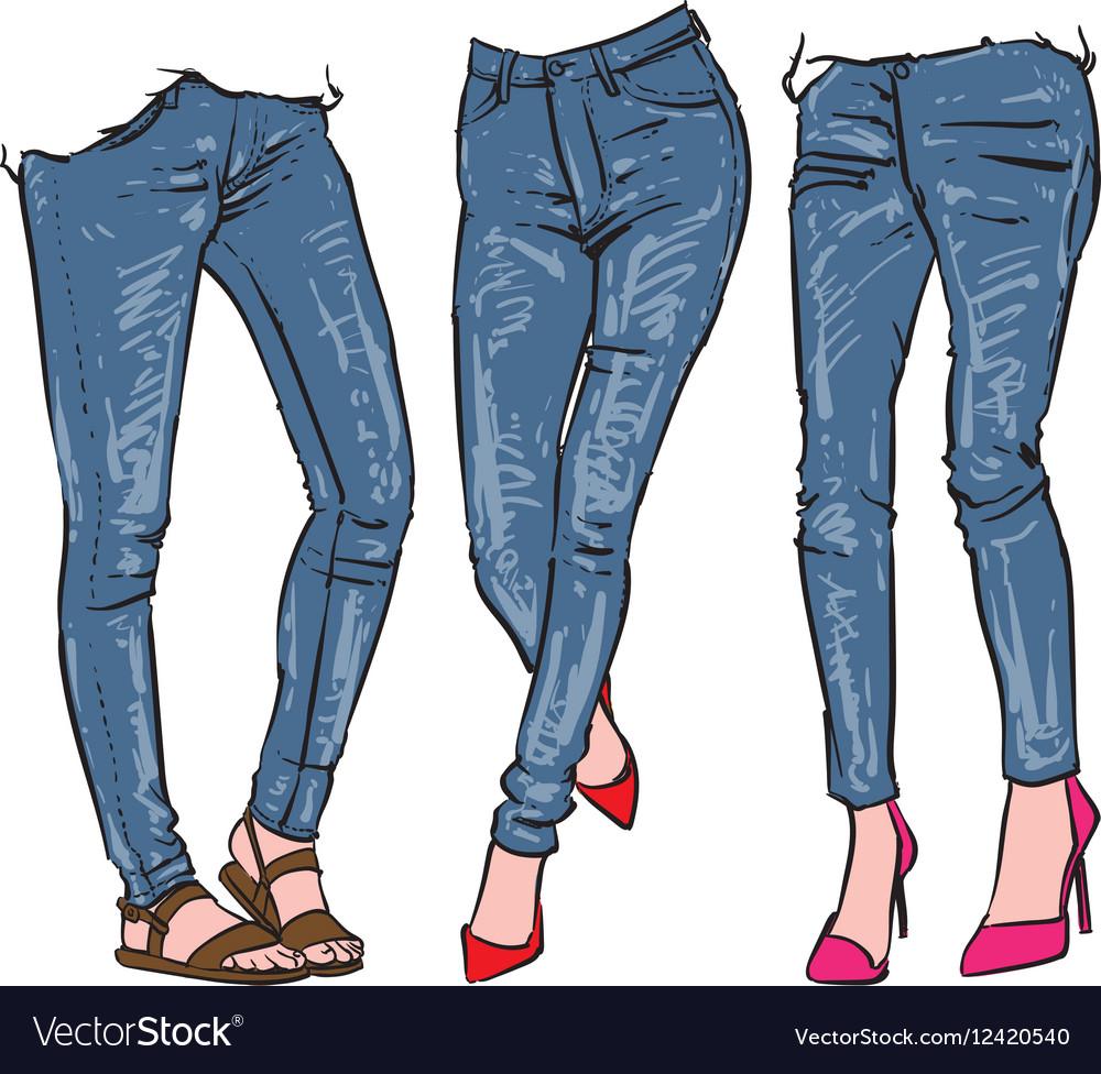 Hand drawn womens fashionable denim jeans