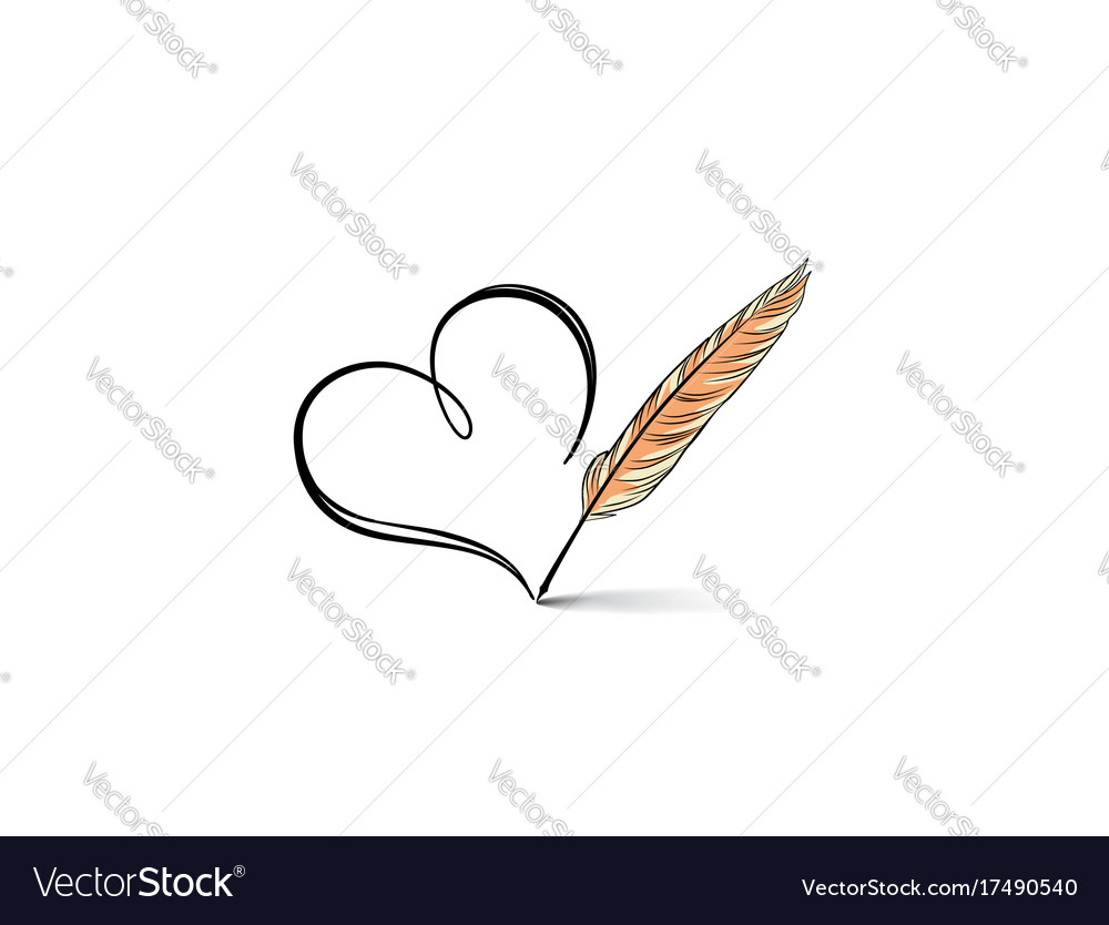 Heart icon stylish line art sign vector image