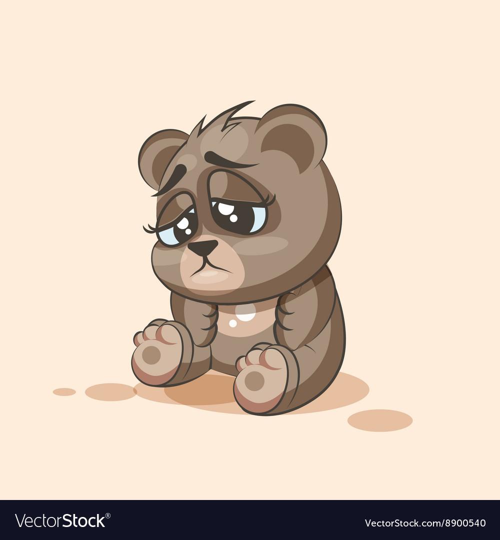 Isolated emoji character cartoon bear sad and vector image