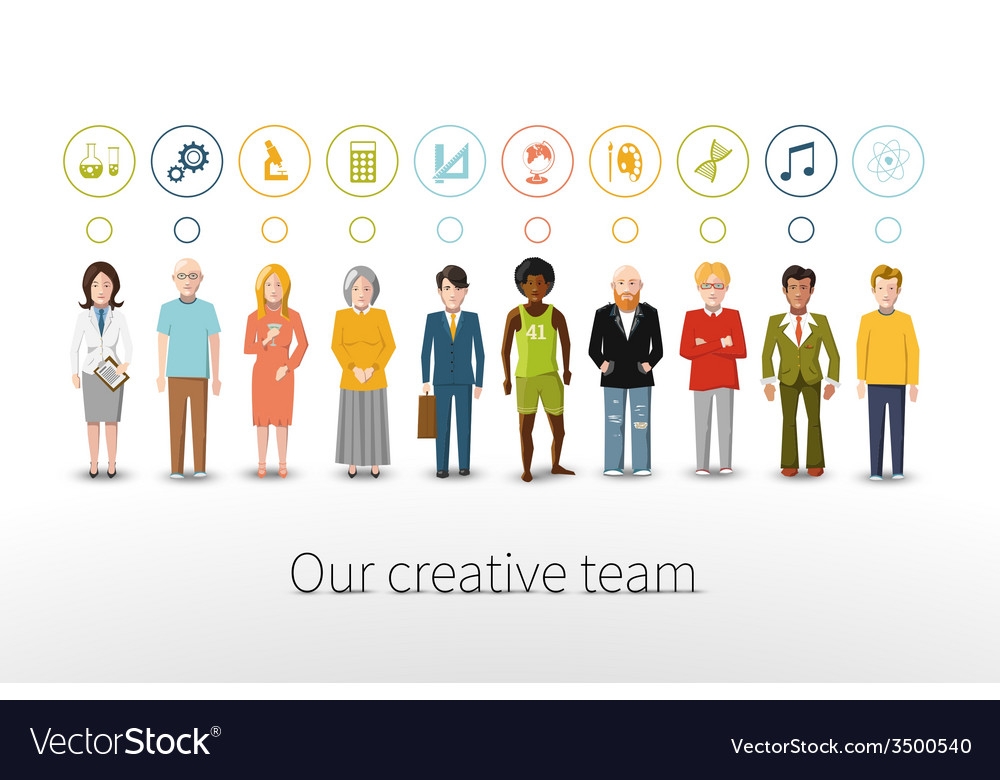 Our creative team of ten people with occupations