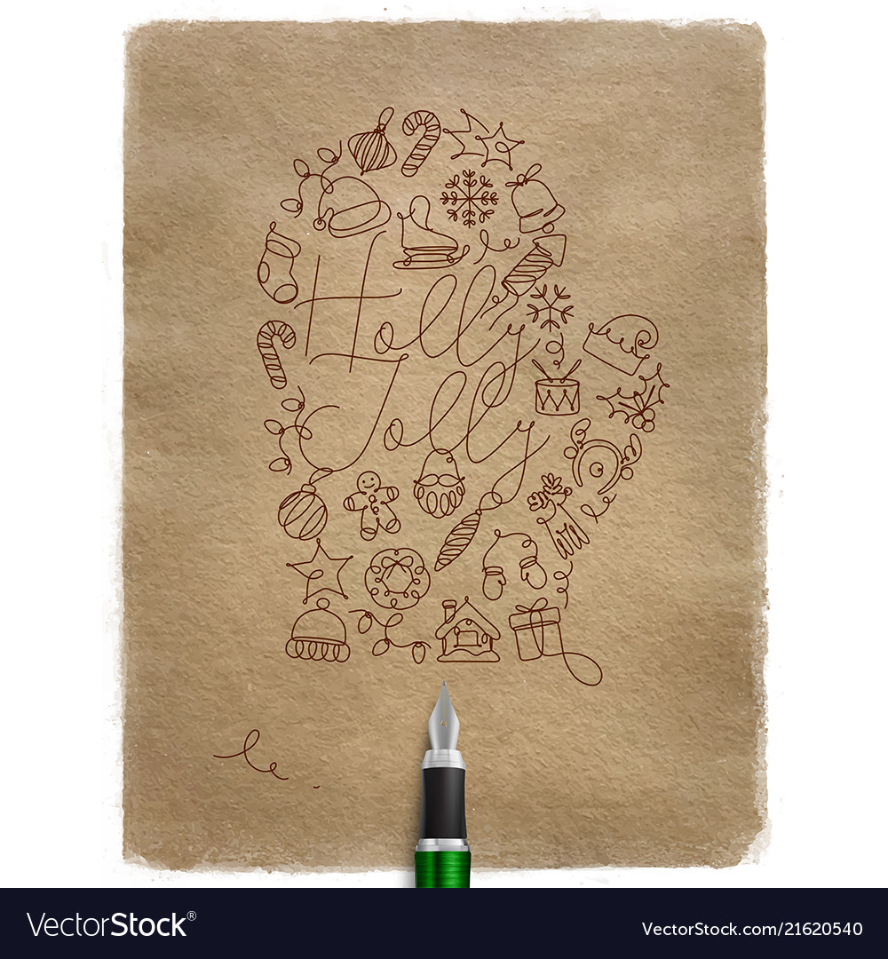 Pen line drawing christmas tree toy glove craft