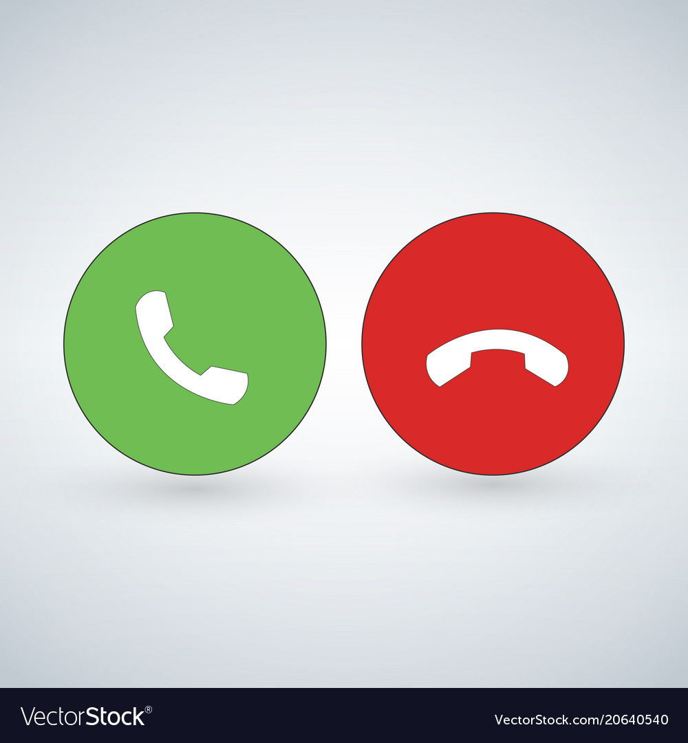 Phone call icon set with green call out button