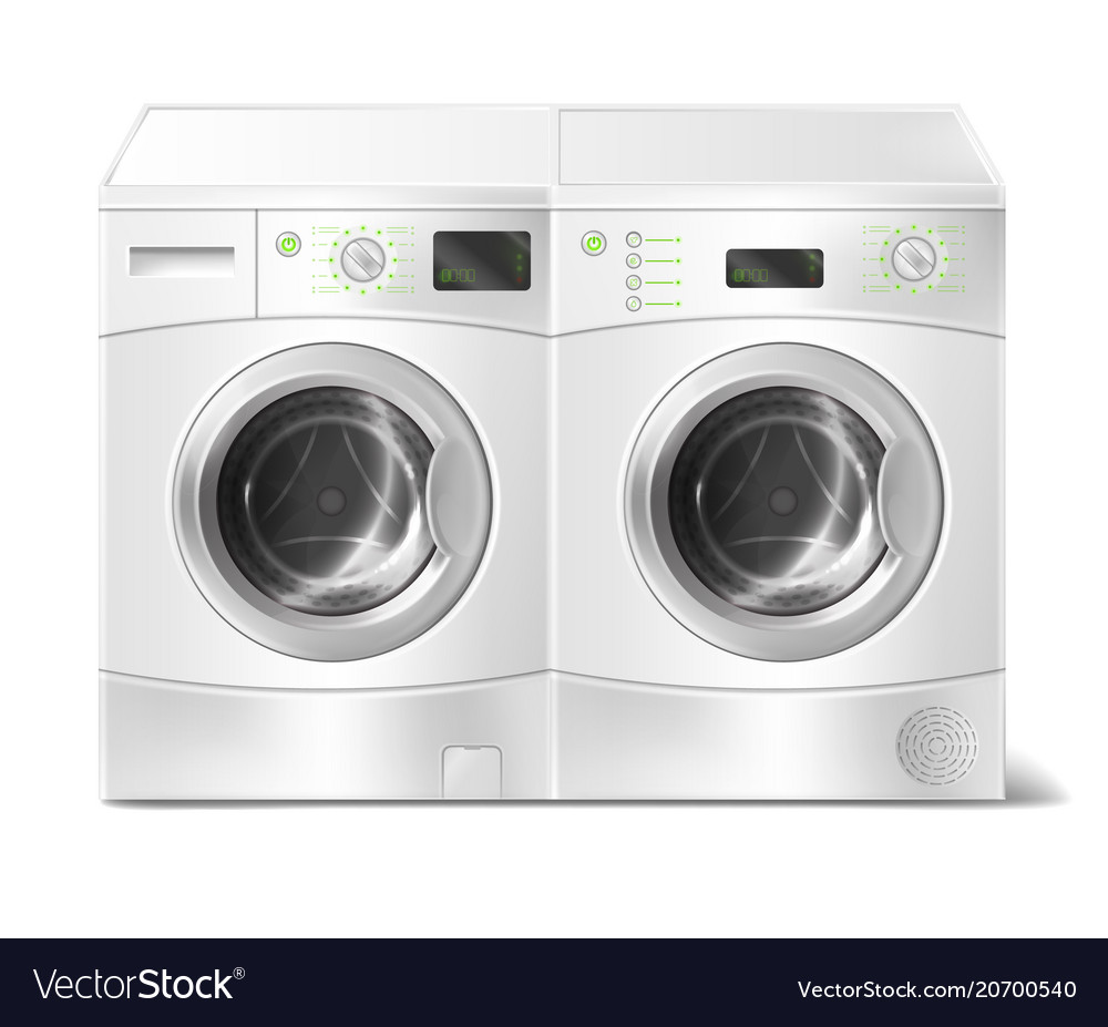 Realistic Front Load Washer And Dryer Royalty Free Vector