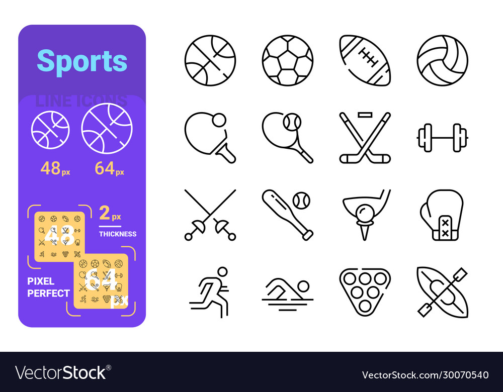 Sports line icons set vector