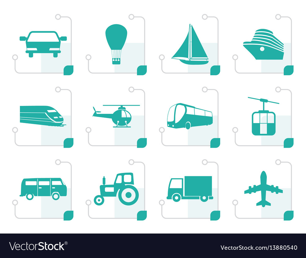 Stylized transportation and travel icons