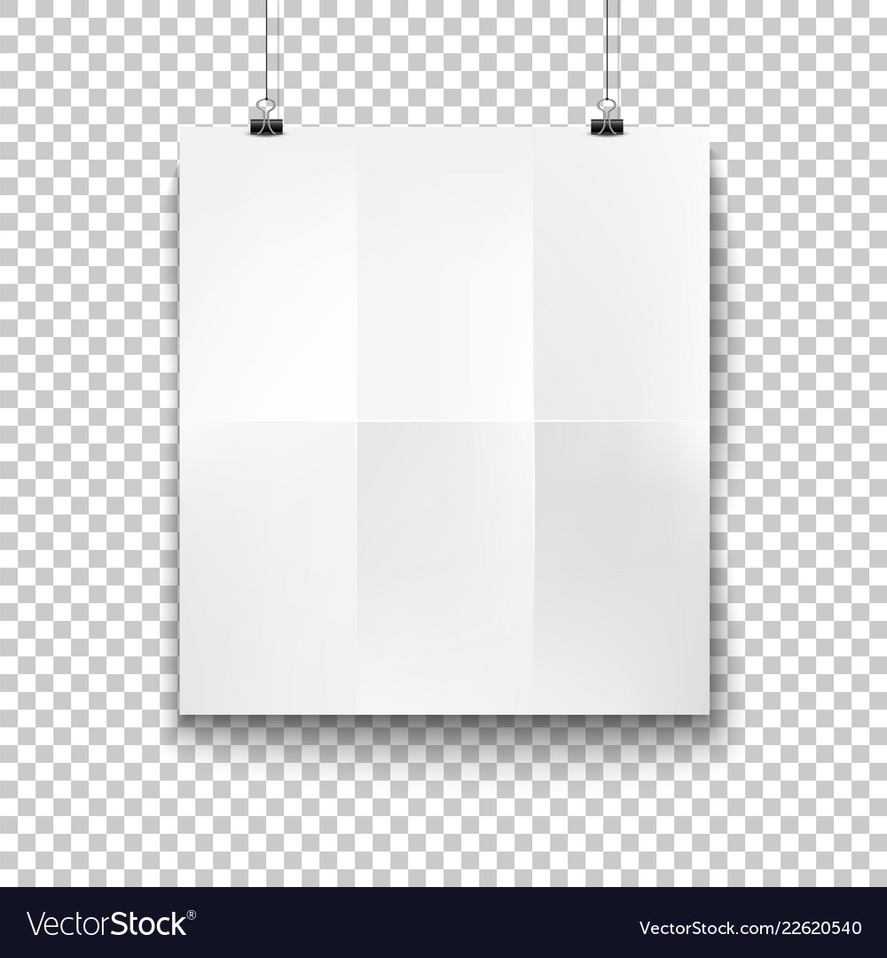 White blank hanging paper placard mockup