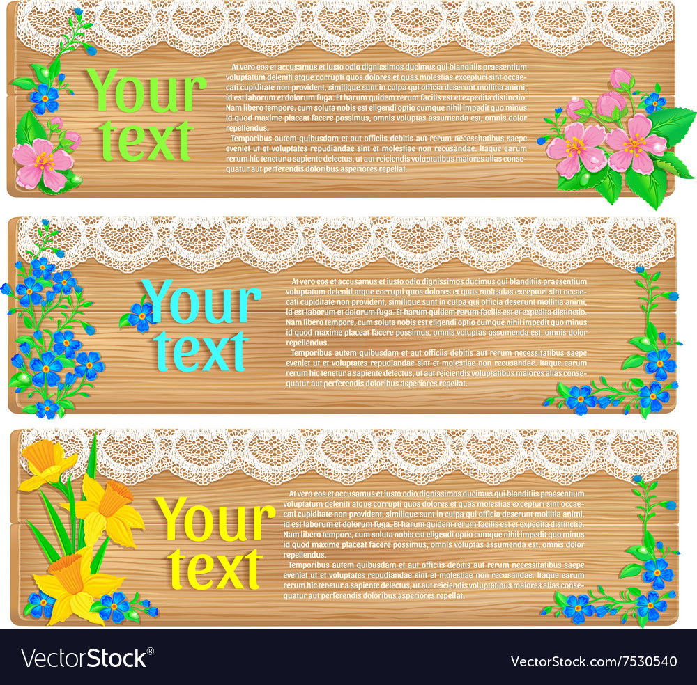 Wooden horizontal spring banners