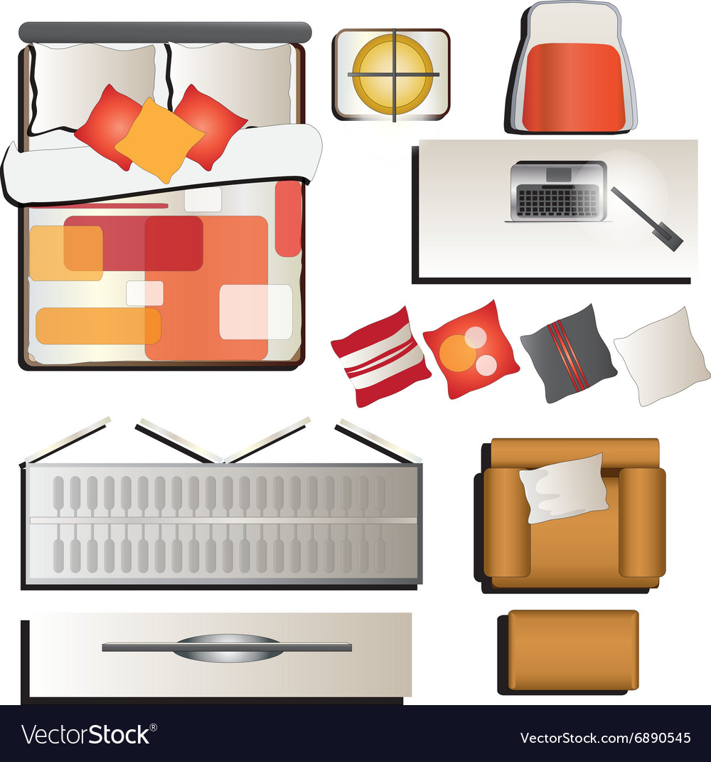 Bedroom Top View Set 4 For Interior Royalty Free Vector